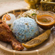 Traditional Malaysian food. Nasi kerabu is a type of nasi ulam, — Stock Photo