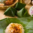 Nasi lemak, a traditional malay curry paste rice dish served on  — Zdjęcie stockowe