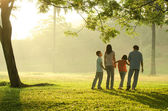 Silhouette of a family walking in the park during a beautiful su — Stock Photo