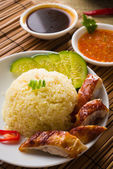 Singapore chicken rice , traditional singaporean food with items — Stock Photo