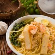 Singapore prawn mee, prawn noodles — Stock Photo