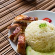 Stock Photo: Roasted chicken rice, famous singapore food