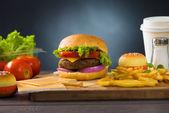Fast food hamburger, hot dog menu with burger, french fries, tom — Stock Photo