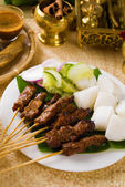 Food, indonesian, malaysia, dish, indonesia, sate, meat, isolate — Stock Photo