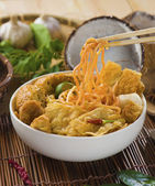 Singapore curry noodle with backgrounds — Stock Photo
