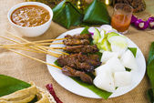 Satay malay hari raya foods ,focus on the meat — Stock Photo