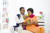 Healthy punjabi family mother and son with lifestyle setting — Stock Photo