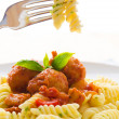 Penne pasta with meatballs — Stock Photo
