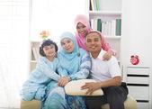Muslim malays family Indoor portrait — Stock Photo