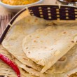Chapathi with various indian foods in traditional lifestyle — Foto Stock
