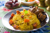 Arab rice meat food with pilaf — Stock Photo