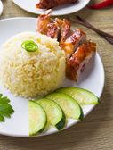 Chicken rice. Asian style hainan chicken rice closeup — Stock Photo