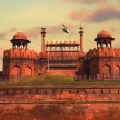 Red Fort in Delhi, India during a beautiful sunset — Stock Photo