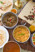 Biryani basmati mutton rice with traditional items on background — Stock Photo
