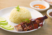 Roast duck rice, popular asian food in singapore — Stock Photo