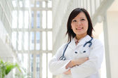 Southeast Asian medical student. Young medical doctor woman stan — Stock Photo
