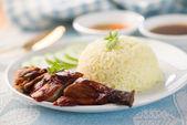 Pato chinês para churrasco com arroz cozido no vapor — Foto Stock