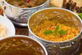 Indian meal with biryani and curry — Stock Photo