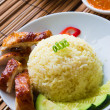 Roasted chicken rice. Asian style hainan chicken rice closeup — Stock Photo
