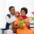 Healthy indian mother and son dining — Stock Photo