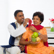Healthy indian mother and son dining — Stock Photo #30571215