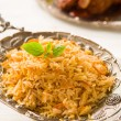 Biryani rice or briyani rice, curry chicken and salad, tradition — Stok fotoğraf
