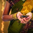 Stock Photo: Diwali or deepavali photo with female holding oil lamp during fe