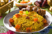 Arabic rice, ramadan foods in middle east usually served with ta — Stock Photo
