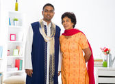 Indian mother and son in the living room — Stock Photo