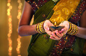 Diwali or deepavali photo with female holding oil lamp during fe — Stock Photo