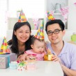 Chinese family celebrating baby birthday party ,full moon — Stock Photo