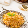 Indian biryani rice and curry with backgrounds — Stock fotografie
