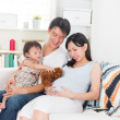 Pregnant mother enjoying quality time with her family  — Stock Photo
