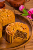 Mooncake for Chinese mid autumn festival foods. The Chinese word — Stock Photo
