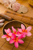 Balinese Spa setting. Low lighting, suitable for spa related the — Stock Photo