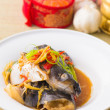 Steamed Fish chinese malaysian style — Stock Photo