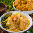 Prawn Laksa soup with rice noodles — Stock Photo