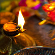 Diwali lamp with indian festival setup — Stock Photo