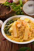 Prawn Laksa soup with rice noodles — Stock Photo
