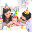 Asian chinese parent celebrating baby full moon party — Stock Photo