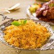 Biryani rice or briyani rice, curry chicken and salad, tradition — Stock Photo