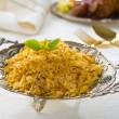 Chicken biryani served with crockery — Stok fotoğraf