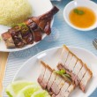 Chinese roast pork belly with sauce — Stock Photo