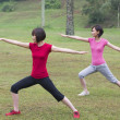 Asian girls working out outdoor park — Stock Photo #33428793