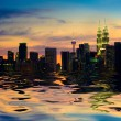 Stock Photo: Kuallumpur skyline, capital of malaysiview from lake