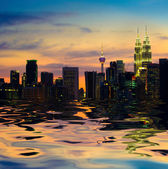 Kuala lumpur skyline, the capital of malaysia view from a lake — Stock Photo