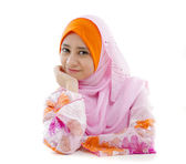 Malay muslim girl closeup in headscarf and white background — Stock Photo