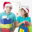 Asian couple lifestyle christmas celebration gift sharing — Foto de Stock