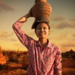 Happy asian traditional farmer harvest at myanmar — Stock Photo