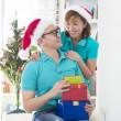 Asian couple lifestyle christmas celebration gift sharing — Foto Stock